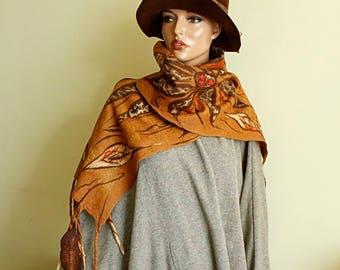 Copper brown mahogany beige scarf  Scarf felted nunofelt , Silk and wool scarf, Multicolor scarf fairytale style