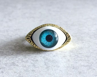 Evil Eye Ring - Glass Eyeball Cabochon, Antique Bronze Ring Base, Size 7.5, Eyeballs, Brass, Blue, White, Greek, Talisman, Protection, Reiki