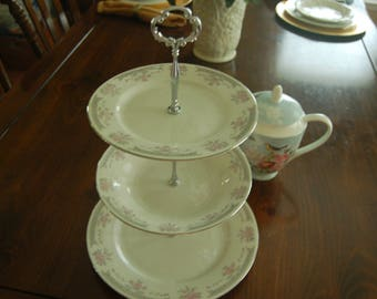 DYNASTY FINE CHINA Tea Stand/Cake Stand/Appetizer Tray, All Matching set, Grays and Pink, Wedding,Holidays,Parties(P320)