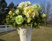 Yellow, Ivory and Green Hydrangea, Ranunculus and Rose Silk Flower Arrangement, in Ivory Ceramic Vase, Spring Flowers, Summer Flowers