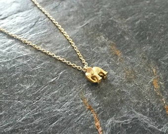 Tiny Gold Elephant Necklace/Elephant Charm Necklace/Elephant Jewellery/Small Elephant Charm/Tiny Elephant/Charm Necklace/Jungle Book