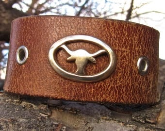 Life on the Ranch Alter Ego Repurposed Brown Leather Cuff
