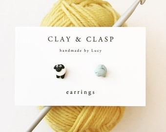 Sheep Earrings - beautiful handmade polymer clay jewellery by Clay & Clasp