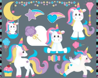 Magical Unicorns 2017, Fantasy, Unicorn, Horse, Pony, Birthday - Instant Download - Commercial Use Digital Clipart Elements Graphics Set