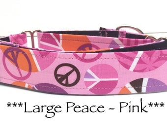 Martingale Dog Collar, Dog Collar, Adjustable Dog Collar, Buckle Dog Collar, Hip, Hippy, Large Peace Signs in Pink