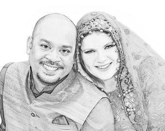 Custom Portrait - Digital Sketch - Custom Artwork - Family Portrait  -Sketch from Photo - engagement portrait - wedding art