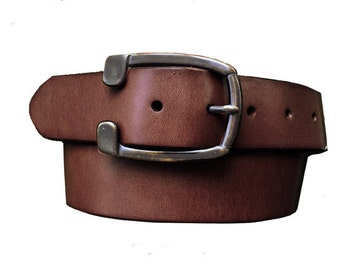 Brown Genuine Leather Western Belt - Solid Brass Removable Buckle - Gift Idea - Distressed - Horseshoe
