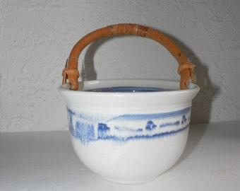 Studio Pottery Bowl Berry Basket Planter Bamboo Handle Blue White Natural Minimalist Beach Cottage decor