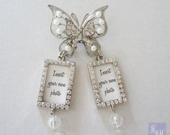 Stunning Butterfly Rhinestone and Pearl Wedding Bouquet Photo Brooch with pin - Insert your own photos - Double charms