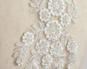 ivory beaded alencon lace applique for wedding gown, bridal garter, veils, costumes