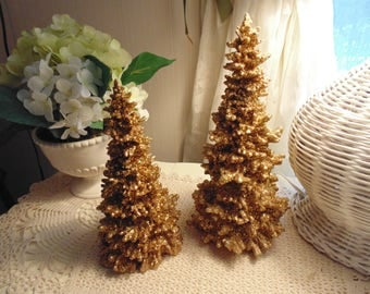 A Pair of French Country Gold Glittery Wooden Trees For Decorating