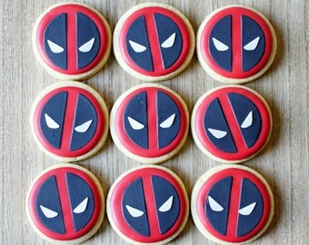 Small Deadpool Decorated Sugar Cookies - One Dozen
