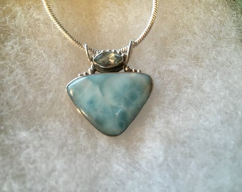 Larimar Gemstone Pendant Necklace w/ Accent Stone in Sterling Silver Setting