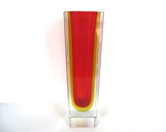 "Vintage Modern 10"" Mandruzzato Sommerso Block Glass Vase, Large Red And Yellow Murano Sommerso Glass Vase, Italian Art Glass"