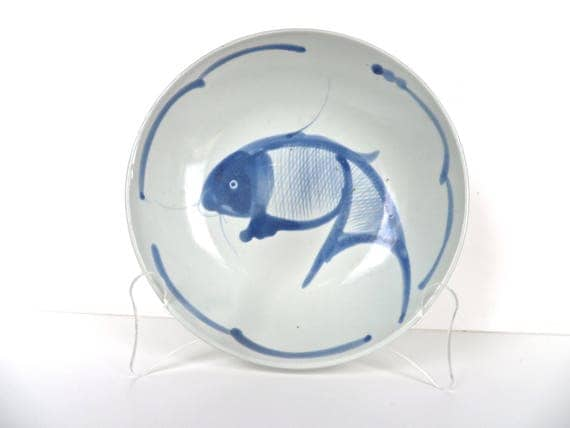 Vintage chinese blue and white koi fish bowl 8 ceramic for Blue and white koi fish