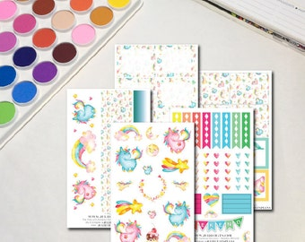 Whimsical Watercolor Planner Sticker Sheets, The Ones with Rainbow Unicorns Collection, Erin Condren, Happy Planner, Traveler's Notebook