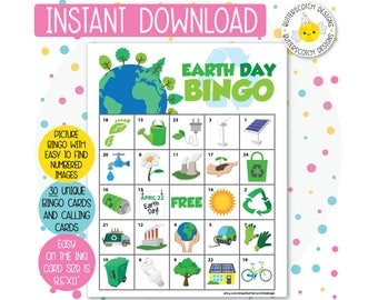 Earth Day Printable Bingo Cards (30 Different Cards) - Instant Download