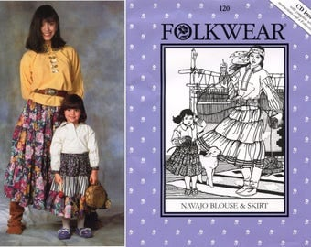 Folkwear Navajo Blouse & Skirt Sewing Pattern # 120 in sizes Women's 4-20 and Girls' 4-10 Native American