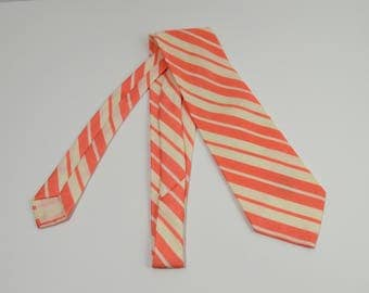Vintage 1970s Peach and White Striped Wide Tie by Sears