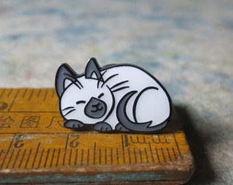"Tiny Siamese Cat HARD ENAMEL PIN - ""Take a Nap"""