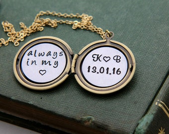 Personalized locket, Always in my heart Necklace, Anniversary Date Necklace, Initial Locket, Personalized Jewelry, Gift for Wife, Girlfriend
