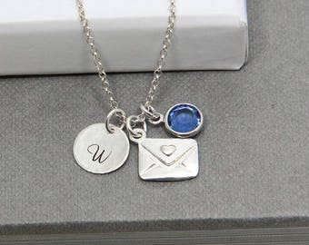 Initial Jewelry, Initial Necklace, Birthstone Necklace, Personalized Necklace, Sterling Silver Envelope Necklace, Monogram Necklace for Her