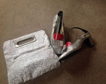 Vintage  Silver Shoes size5& Silver Evening Bag.