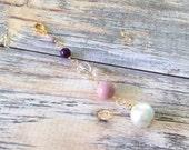 Valentines Day Sale Purple Pearls and Crystal Planner Charm-Gift Idea Midori Fauxdori kiki k Filofax