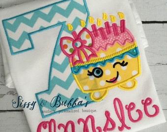 Personalized Wishes Shopkin Birthday Applique Shirt, girl, pink, girls birthday shirt, bow, candles, cupcake, birthday cake, shopkins