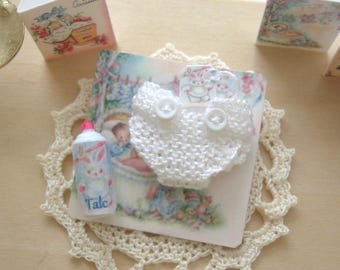 dollhouse nappy and talc baby doll 12th scale miniature knitted