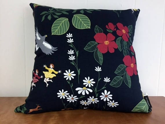 Swedish Himlajord Black Pillow Case Cover Floral Josef Frank Style Scandinavian Modern