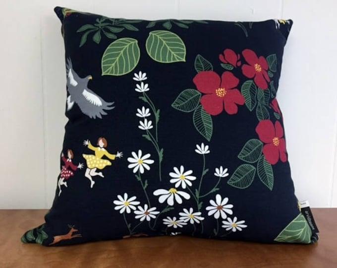 Swedish Himlajord Black Pillow Case Cover Floral Josef Frank Style Scandinavian Modern
