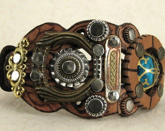395 Steampunk Burning Man Assemblage Palimpsest Bracelet Recycled Jewelry Industrial Machine Age