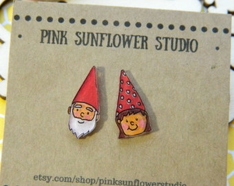 Tiny Little Gnome Stud Earrings Shrinky Dink Mismatch