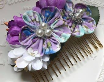 Handmade Asian Garden Faux Flower Hair Comb