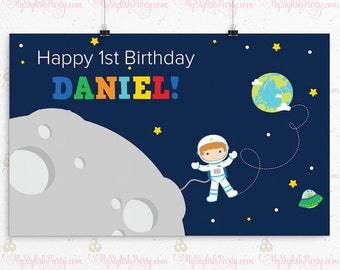 Outer Space Birthday Backdrop or Poster - Astronaut Backdrop or Birthday Poster