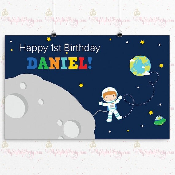 Outer space birthday backdrop or poster astronaut for Outer space poster design