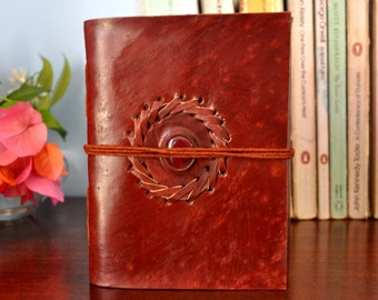 Leather Bound Journal // natural recycled paper // Small Size
