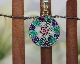 18mm Murano Millefiori Pendant 24K Italian Gold Plated Sterling Silver - GBWG>