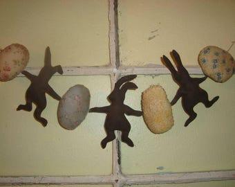 Primitive Handmade Dancing Bunnies and Egg Garland
