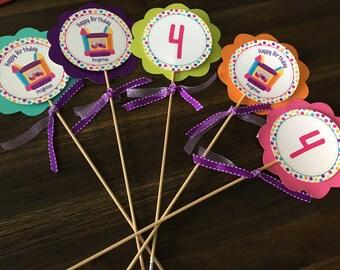 Girl Birthday center pieces, Center pieces, Bounce House center pieces