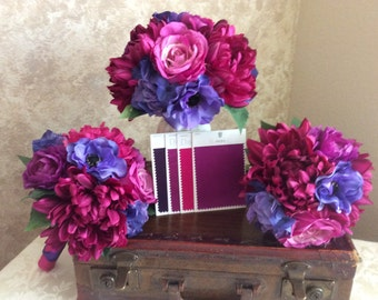 19 Piece wedding bouquets in fuchsia, purples and hot pink
