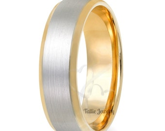 Two Tone Mens Wedding Bands,10k Gold Wedding Rings,Matching Wedding Rings,Mens Wedding Rings,Two Tone Wedding Bands