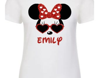 Minnie Mouse Heart Glasses with Name | Personalized Disney Shirt | Women's Shirt | Disney Family Matching Shirts |  Ladies Shirt