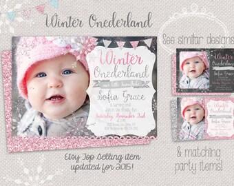 Winter ONEderland photo invitation - snowflake first birthday