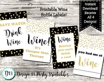 Instant Download Funny Sayings Wine Bottle Labels Digital Prinable