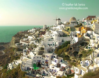Greece Photography - View From Oia - Santorini - Wall Decor - Mediterranean Fine Art Print