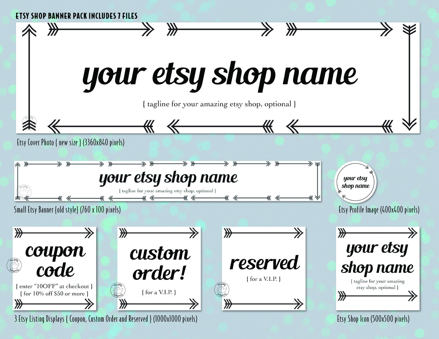 custom etsy shop graphics banner pack etsy store banner etsy