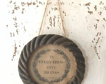 Primitive Beeswax Frame - In Everything We Give Thanks