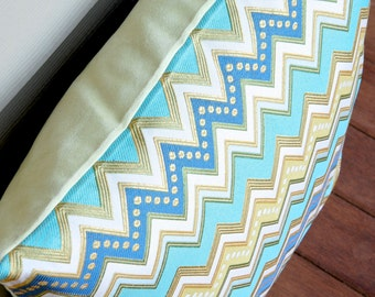 Green and Blue Zig Zag Pillow